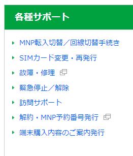 MNP転入切替/回線切替手続き